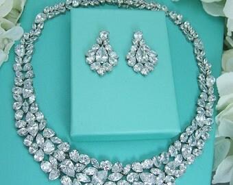CZ Wedding Necklace Set, CZ  Bling Jewelry Set, bridal jewelry, wedding jewelry, bling cz jewelry, cubic zirconia, wedding accessories