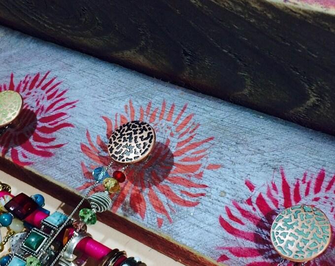 Floating shelves /jewelry holder shelf/ accent shelving/ wall organizer reclaimed pallet wood stenciled flowers 5 knobs 2 hooks bracelet bar