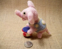 Needle Felted Elephant, Felted Wool Animal Sculpture