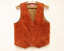 Vintage Brown Mens Vest Classic Formal Gentlemen's Fitted Waistcoat Small Size Gift to Dad Country Western Comfortable