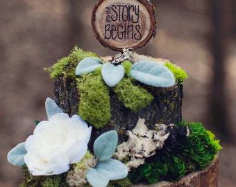 Rustic Wedding Cake Topper / Tree Slice Cake Topper