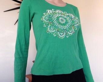 "Vintage 70s ""beaded bag"" long sleeved green top - 100% cotton - very unusual!"