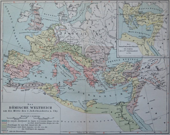 Roman empire map in the 2nd century. Maps.  Old book plate, 1904. Antique  illustration. 110 years lithograph. 9'6 x  11'9 inches.