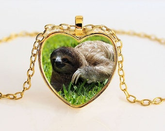 Sloth Heart Pendant Necklace - Three Toed Sloth - Sloth Jewellery