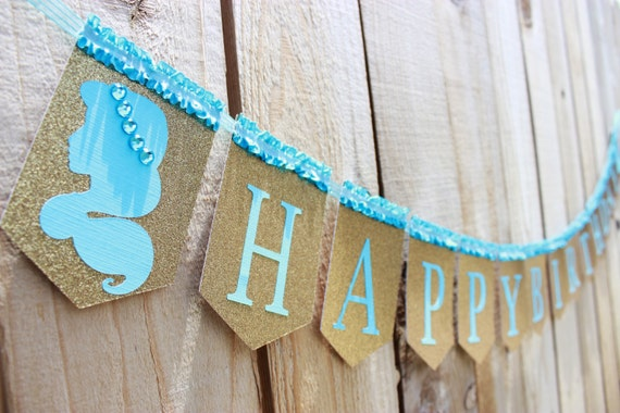 Princess Jasmine inspired Happy Birthday banner Aqua and Gold