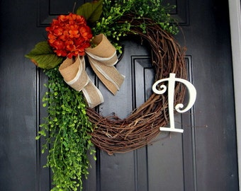 Monogram wreath for the door, summer wreath, fall wreath, front door wreaths, autumn wreath, hydrangea wreaths, door wreath, letter wreath