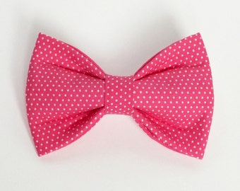 Pink Pin Dot Dog Bow Tie
