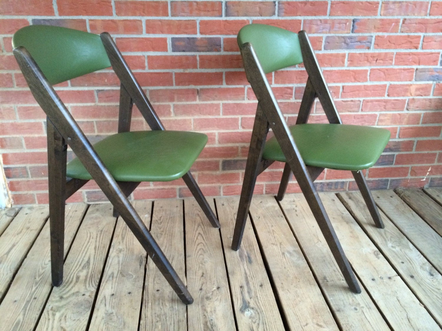 Vintage Set of Two 2 Mid Century Modern Stakmore Folding