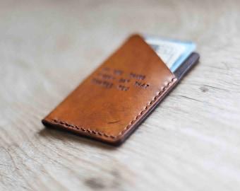 Minimalist Wallet, Leather Wallet, Husband Gift, Custom Leather Wallet, Groomsmen Gift, Mens Wallet (Tan Color)