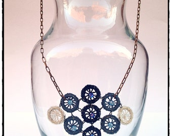 """the """"Violet"""" - a necklace with a hand-crocheted, diamond shaped pendent"""