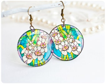 Resin Transparent  Earrings with orchids
