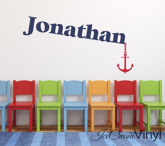 Anchor Name Nautical Wall Decal Personalized Name for Nursery Boys or Girls Room Sailboat Playroom Vinyl Monogram Lettering
