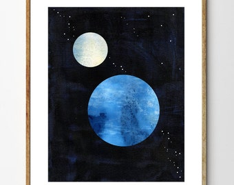 Earth and the Moon - Space Art, Moon Painting, Sci Fi Art, Space Nursery Art, Planets, Collage Art, Moon and Stars