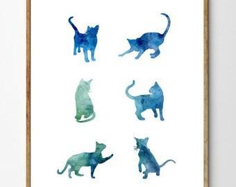 "Cat Art Print, Cat Painting, Children's Art, Nursery Art Animal, Watercolor Animals, Cat Print, Blue Home Decor, ""Six Cats"""