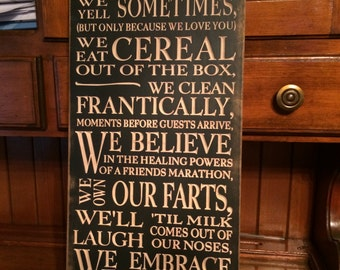 family toilet seat wood. Custom Carved Wooden Sign  In This Family We Do Toilet Seats Down toilet seat Etsy