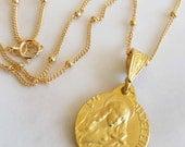 Necklace - Saint Mary Magdalene - 18K Gold Vermeil - 15mm Medal