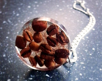 Coffee Necklace - Coffee Jewelry - Real Coffee Beans - Resin Coffee - Handmade Necklace