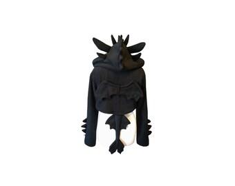 Toothless inspired black dragon cosplay hoodie (shrug style)