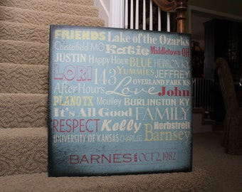 "30"" X 30"" Personalized Word Canvas Sign"