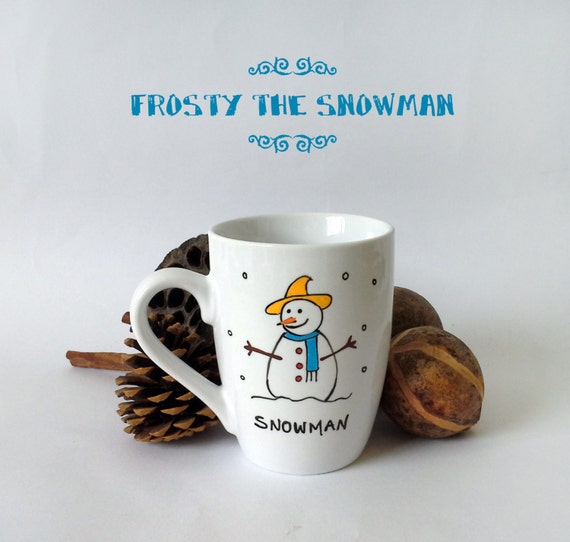 "Christmas Mug - Hand painted White Ceramic Mug, ""Snowman"""