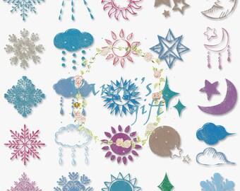 52 Handpainted Sky Constellation Wedding Digital Download Scrapbooking Clip Art b13
