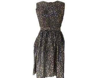 1950s french glitter DRESS //party dress // prom dress // black and glitter 50s dress