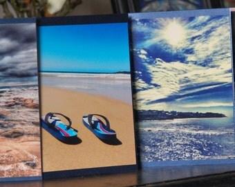 Set of 4 Australian Beaches Photos, Greeting Cards, Note cards, Bronte Beach, Sydney, beaches, NSW, Australia, South Coast Beach