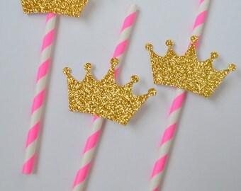 12 Gold Glitter Princess Crown Straws