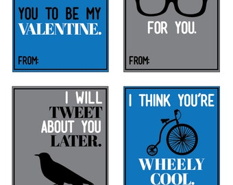 Printable Valentines - Valentine's Day - Cool Hipster Cards