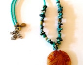 Vintage Beaded Necklace,Asian Serpentine Jade Pendant and Turquoise