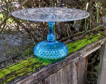 Turquoise Crystal Cake Stand/Aqua Cupcake Pedestal/Indiana Glass/Boy Baby Shower/Blue Wonderland Beach Wedding Cake Stand/Large Plate Stand