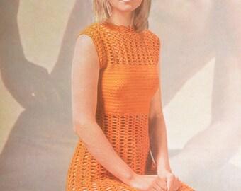 PDF crochet dress sleeveless vintage crochet pattern pdf instant download pattern only pdf 1970s