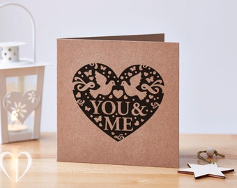 You & Me Heart Valentine's Card Recycled