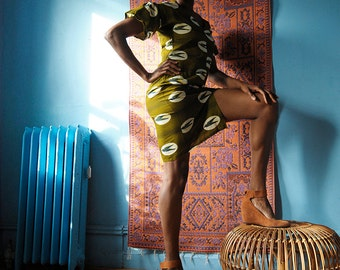 IFE Drop Shoulder Flare Sleeve Dress // Wax Print