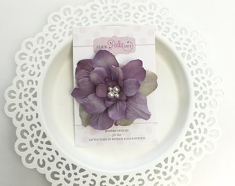 Purple Flower Clip, SWAROVSKI Pearls, Hair Accessories, Hair Clip, Clip for Teens, Toddler Adult Hair Clip,  Flower Clips, Delphinium Flower