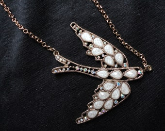 SALE Flying Bird Necklace with Mother-of-Pearl and Rhinestones
