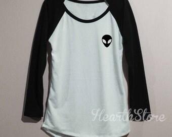 Alien Shirt Baseball Raglan Shirt Tee Long Sleeve TShirt T Shirt Women - size S M L