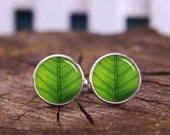 green leaf cufflinks, leaf gift, custom plant cufflinks, personalized cufflinks, custom wedding cufflinks, groom cufflinks, tie bars, or set