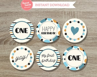 First Birthday Cupcake Toppers // 2 Inch Colorful Dots Cupcake Toppers  - One Year Old Boy Birthday Party - 1st Birthday Cupcake Toppers