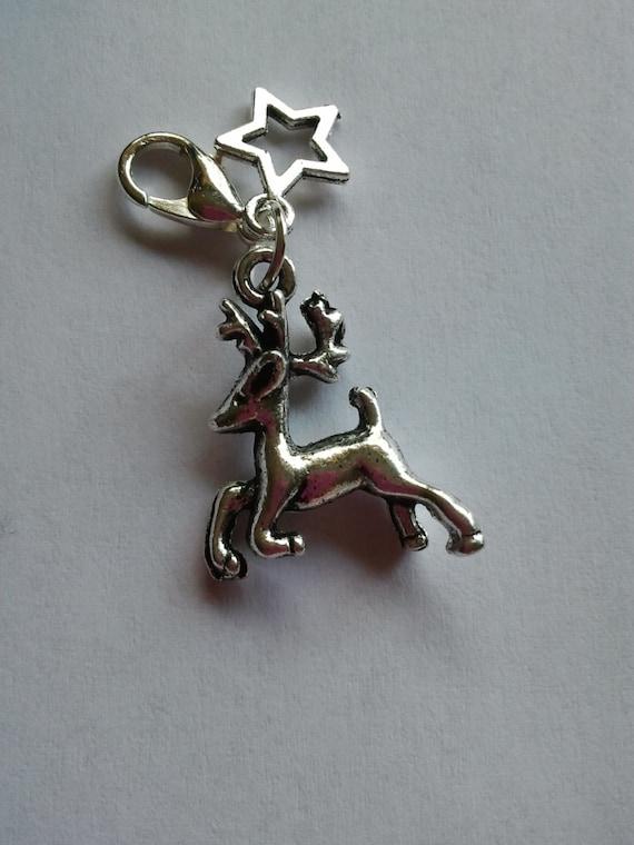 Silver metal coloured christmas reindeer deer stag charm