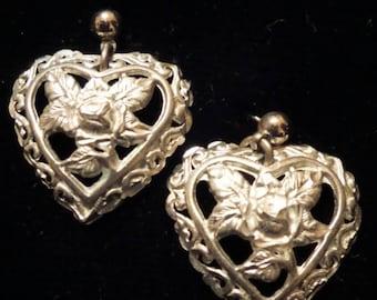 Heart-Shape Silver Earrings