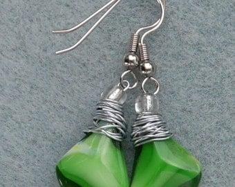 Classy Green Glass Dangle Earring