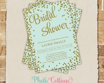 Bridal Shower Invitation, Glitter Gold Invitation, Glitter Invitations, Bridal Shower Invites, Mint & Gold Invitation, BS212