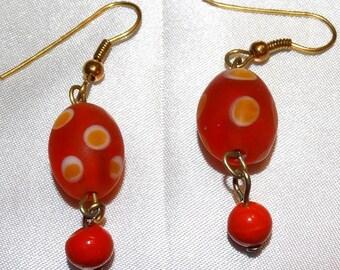 Red Polka Dot Lampwork Glass Earrings