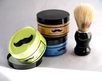 Mens Solid Shaving Soap Gift Set (3x100g) Plus Shaving Brush Vegan. No SLS or Parabens Moustache Essential Oils Natural Sensitive Skin