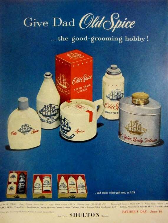 1955 old spice vintage advertisement bathroom wall art mens for Bathroom accessories ads
