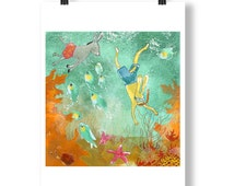 Under water with Rabbit and Donkey - series of 4 limited edition prints - A4 - wall art - green - orange - diving in sea - coral - starfish