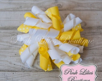 Yellow and White Korker Bow - Yellow Hair Bow - Yellow and White Bow - Yellow Curly Bow (Item #10006)