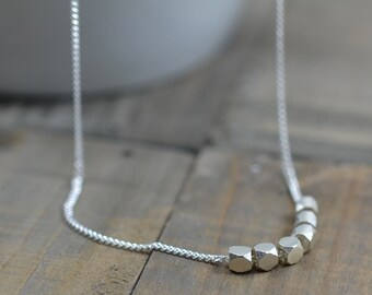 Sterling Silver Nuggets Necklace - Silver Nugget Beads on Delicate Curb Chain, Modern, Minimal