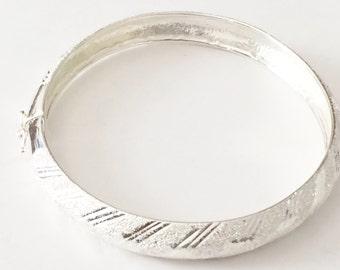 "Sterling Silver Oval Bypass Textured Bracelet 7 1/4"""